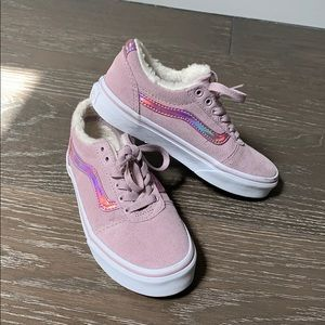 🆕 Little Girls VANS Suede Sneakers w/Faux Fur